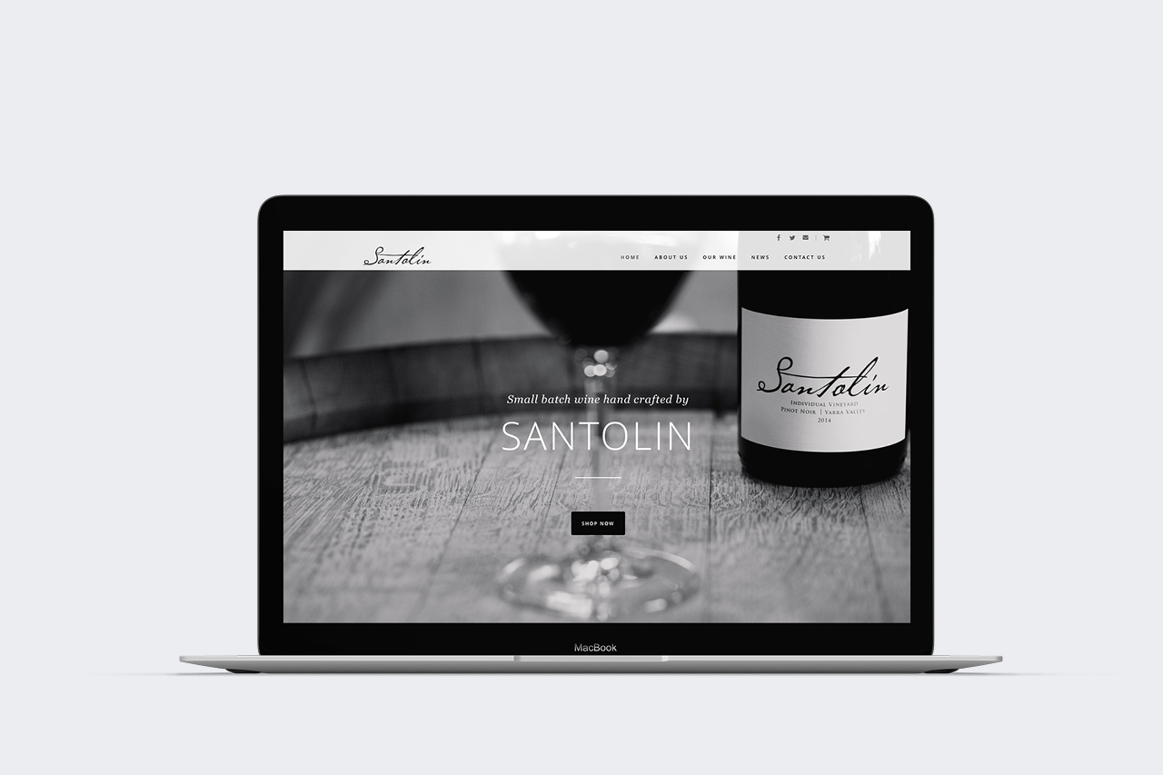 santolin wines website design maker and co design