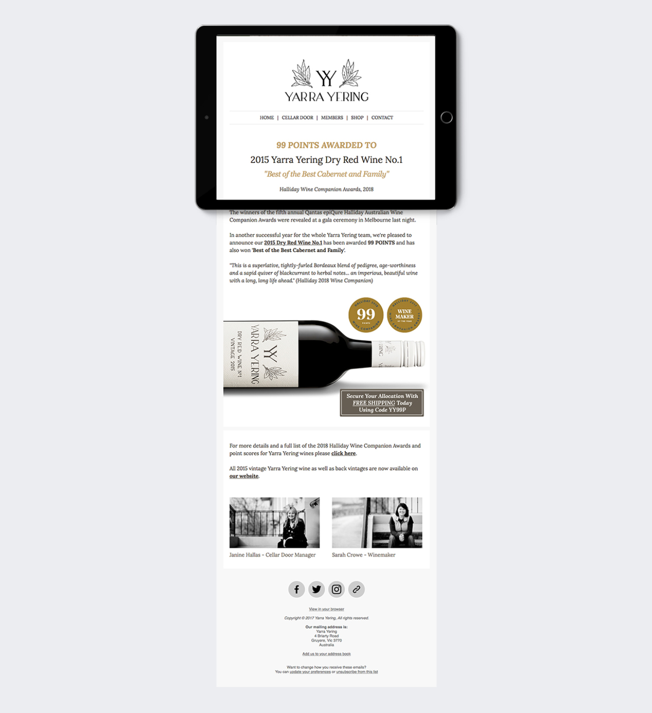 yarra yering e newsletter maker and co design
