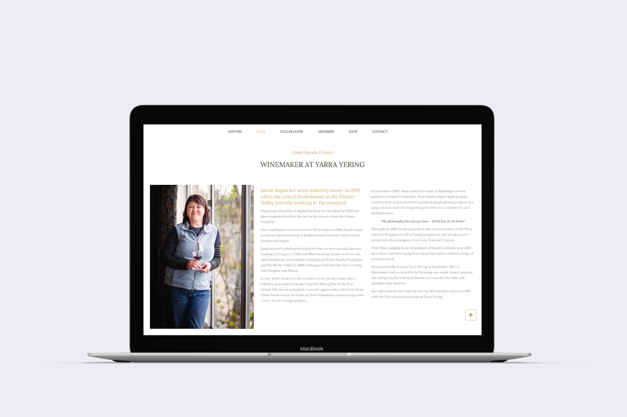 yarra yering wordpress website maker and co design